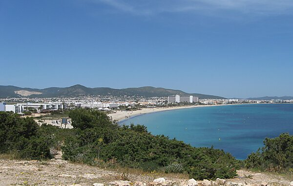 Playa Den Bossa beach in Ibiza, Spain