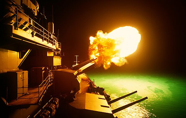 Battleship Missouri Memorial USS Missouri firing during Desert Storm%2C 6 Feb 1991