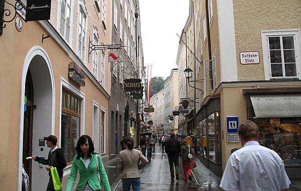 Getreidegasse Lane in Salzburg, Austria